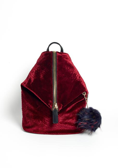 Wine Me Up Velvet Zipper Front Backpack