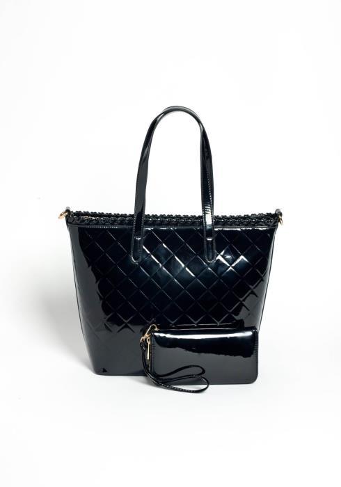Diva Behavior Black Quilted PU Leather Hand Purse & Wallet Set