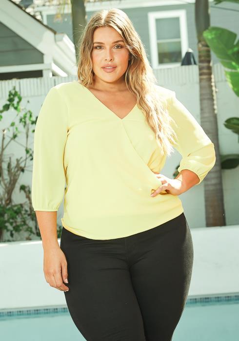 Asoph Plus Size Sunshine Yellow Open Back Blouse