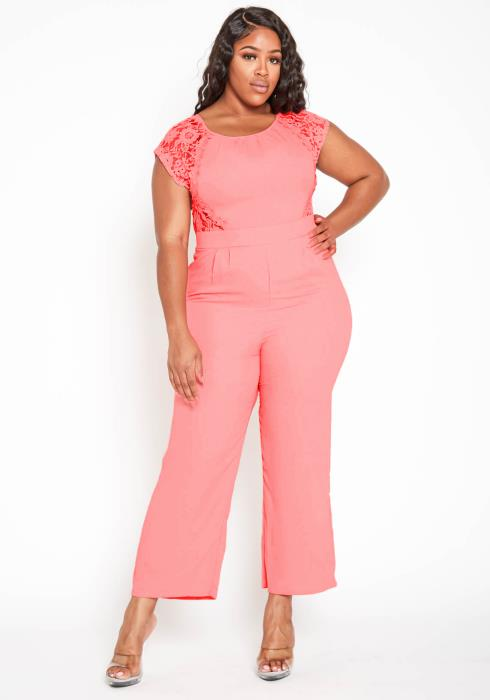 Asoph Plus Size Embroidered Short Sleeve Coral Jumpsuit