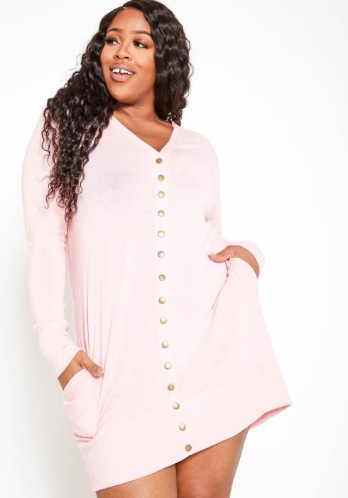 Asoph Plus Size Comfort Zone Pink Knit Sweater Dress