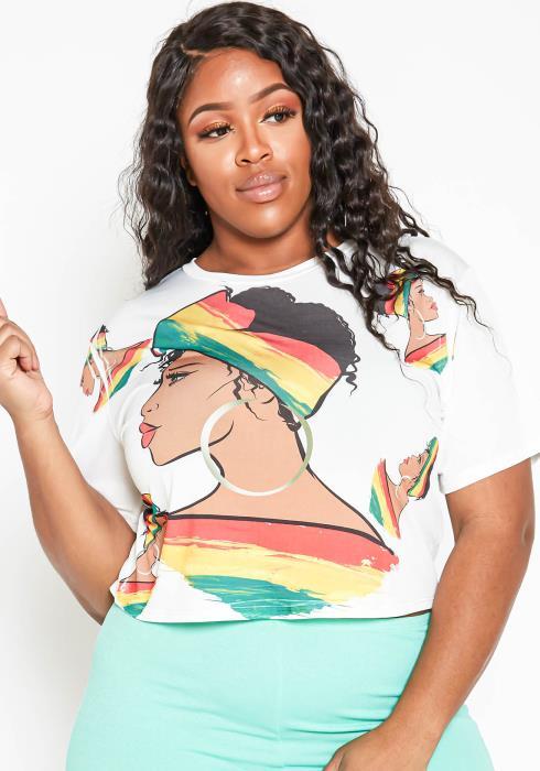 Asoph Plus Size Jamaican Culture Graphic Crop T Shirt