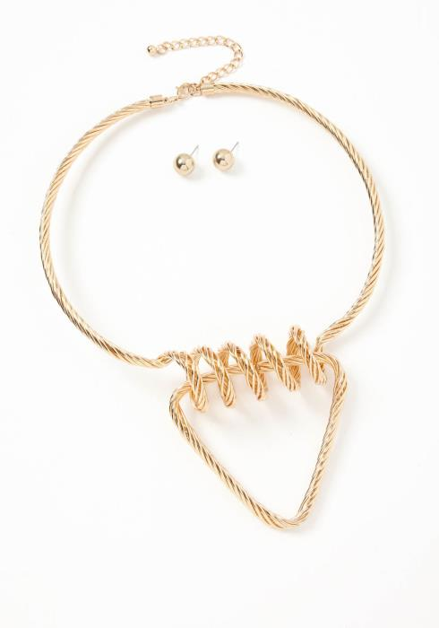 Newsome Golden Twist Choker Necklace & Earring Set