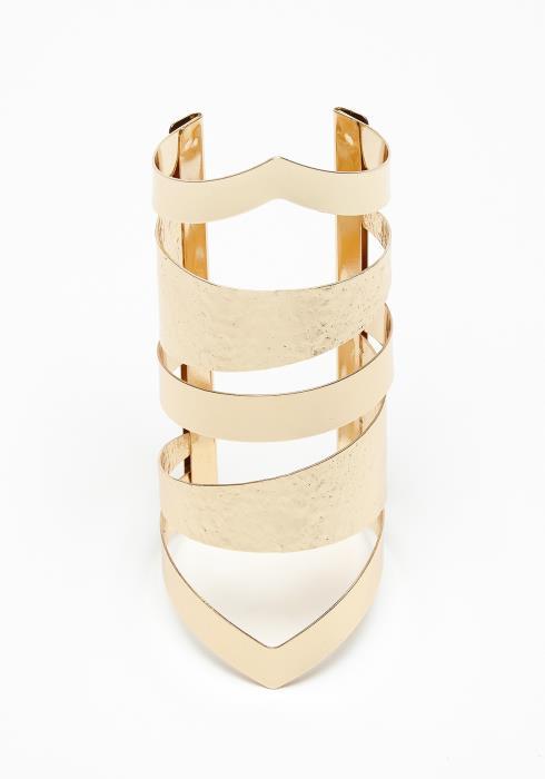 Golden Textured Wrist Cuff Bracelet