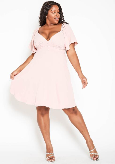 Asoph Plus Size Sweetheart Neck Fit & Flare Midi Dress