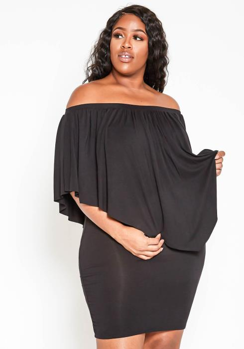 Asoph Plus Size Off Shoulder Ruffle Overlay Bodycon Mini Dress