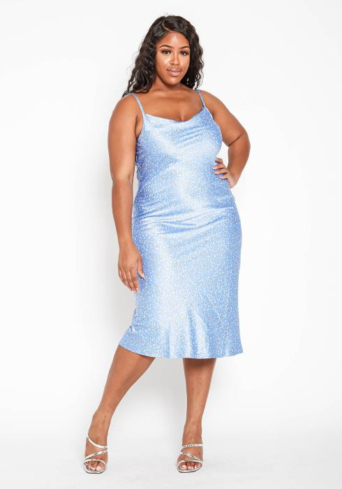 Asoph Plus Size Blue Sky Satin Cami Midi Dress