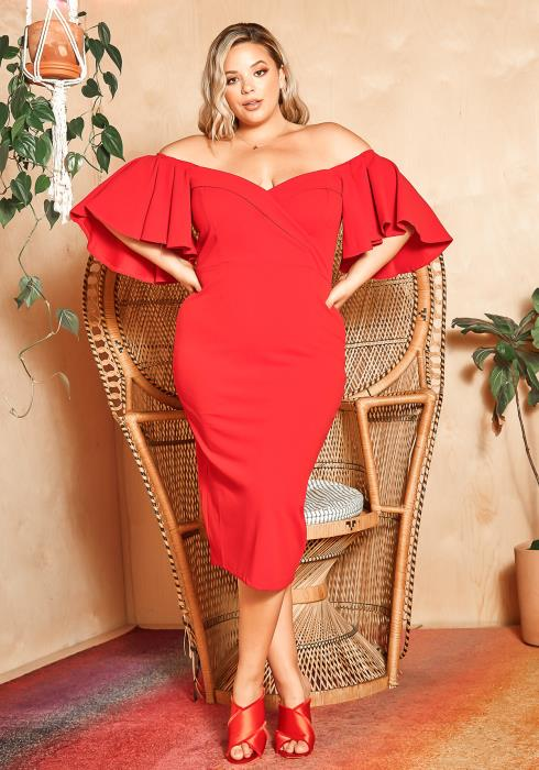 Asoph Plus Size Romantic Off Shoulder Flare Sleeve Party Dress