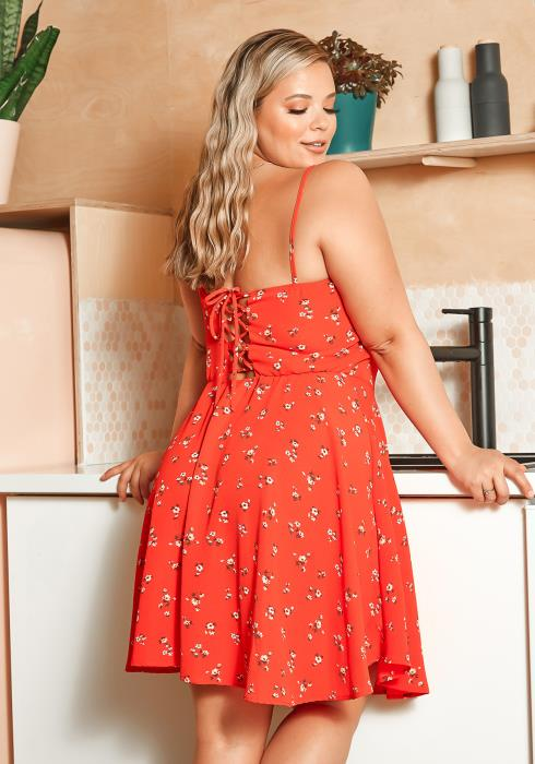Asoph Plus Size Daisy Floral Cross Lace Back Mini Dress