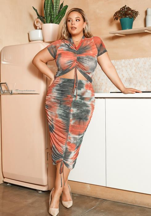 Asoph Plus Size Tie Dye Crop Top & Ruched Maxi Skirt Set