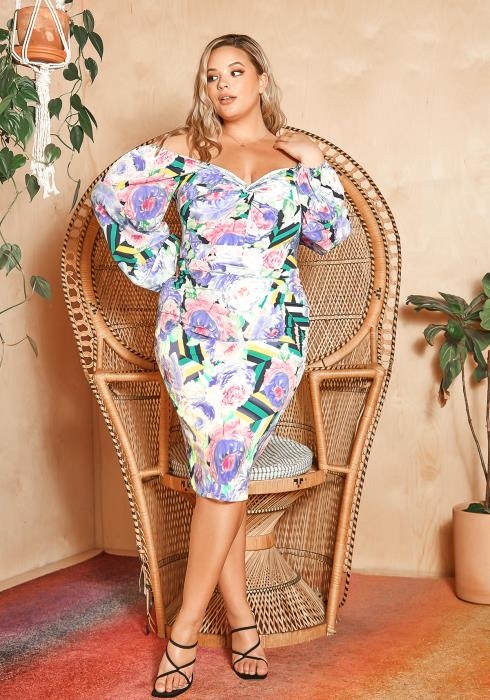 Asoph Plus Size Petal To The Metal Off Shoulder Midi Dress