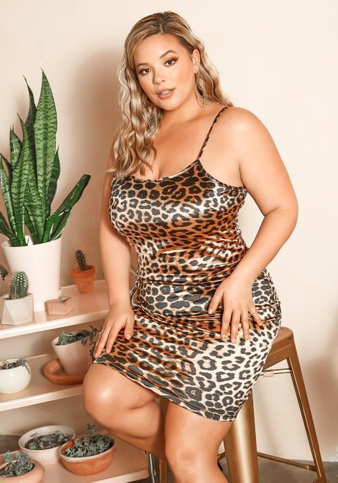 Asoph Plus Size Satin Leopard Mini Party Dress