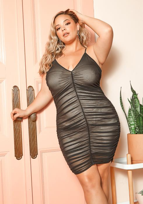 Asoph Plus Size Womens Ruched Mesh Bodycon Cami Dress