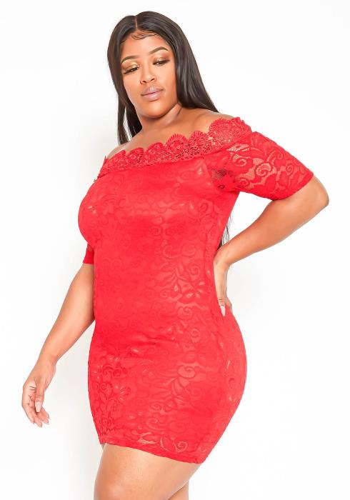 Asoph Plus Size Off Shoulder Red Romantic Lace Mini Dress