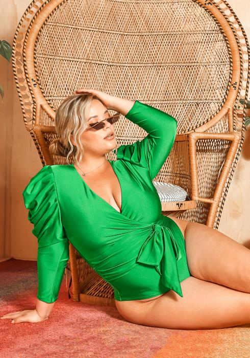 Asoph Plus Size Ruched Shoulder Kelly Green Satin Bodysuit