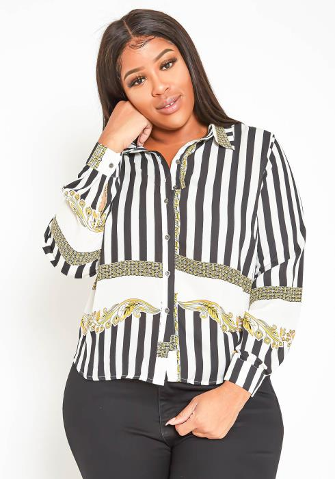 Asoph Plus Size Golden Twist Pinstripe Long Sleeve Collar Top