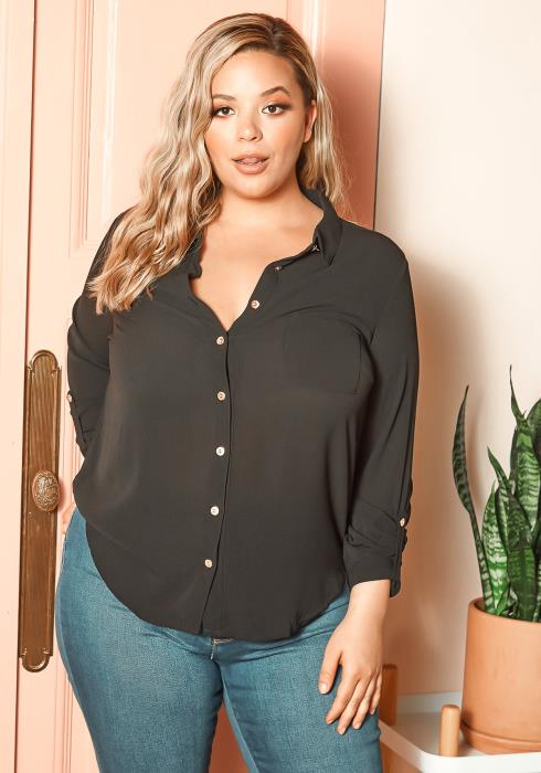Asoph Plus Size Basic Button Up Casual Shirt Blouse