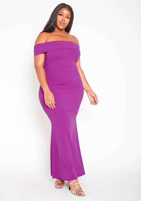 Asoph Plus Size Womens Off Shoulder Mermaid Flare Gown