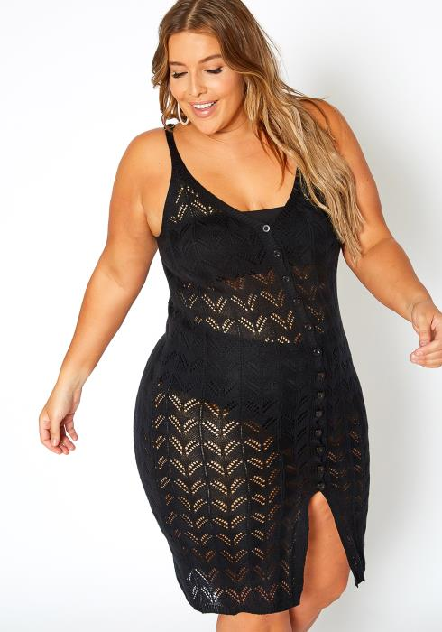 Asoph Plus Size Bikini Cover Up Sheer Knit Dress