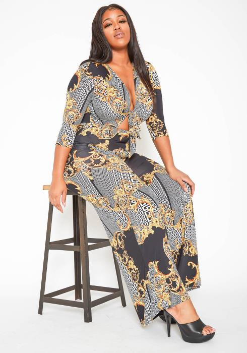 Asoph Plus Size Dipped In Gold Knot Front Flare Jumpsuit