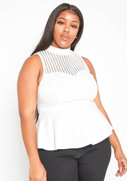 Asoph Plus Size Womens Crochet Sleeveless Blouse Top