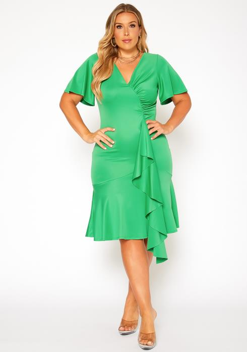 Asoph Plus Size Waterfall Ruffle Trim V Neck Midi Dress