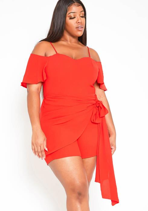 Asoph Plus Size Strappy Off Shoulder Bow Wrap Romper
