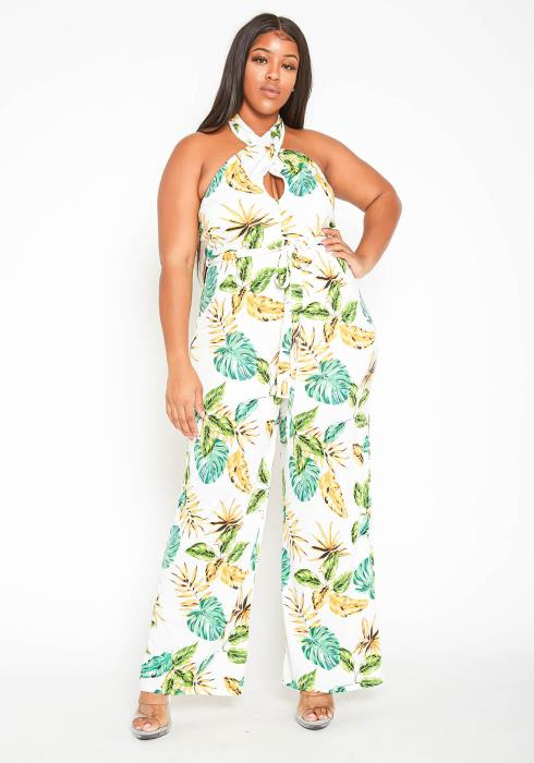 Asoph Plus Size Womens Palm Leaf Halter Neck Jumpsuit