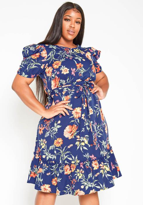 Asoph Plus Size Vintage Floral Print Midi Dress