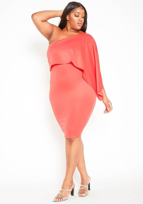 Asoph Plus Size One Shoulder Overlay Party Dress