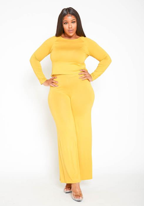 Asoph Plus Size Casual Cropped Sweater & Flare Legging Set