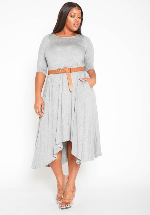 Asoph Plus Size Asymmetric Cut Fit & Flare Midi Dress