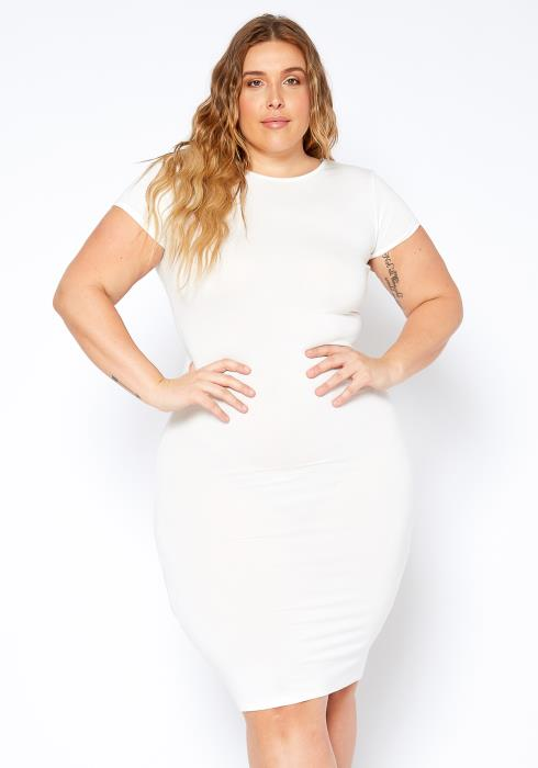 Asoph Plus Size Everyday Short Sleeve Bodycon Dress