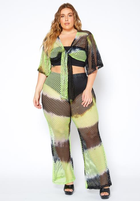 Asoph Plus Size Neon Fish Net Two Piece Set