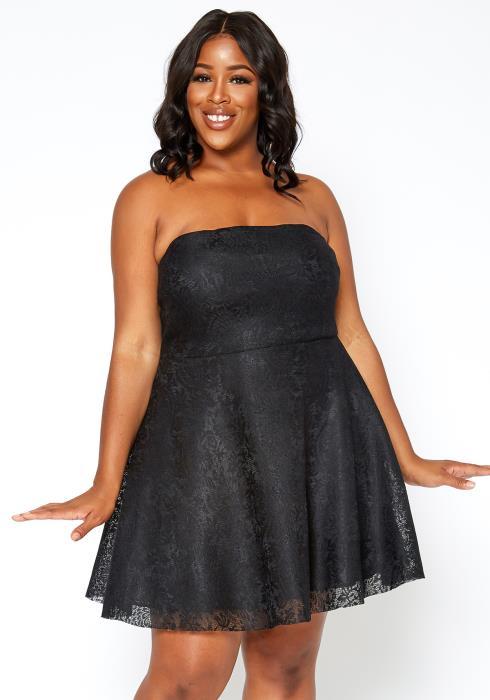 Asoph Plus Size Sweet Full Lace Fit & Flare Mini Dress