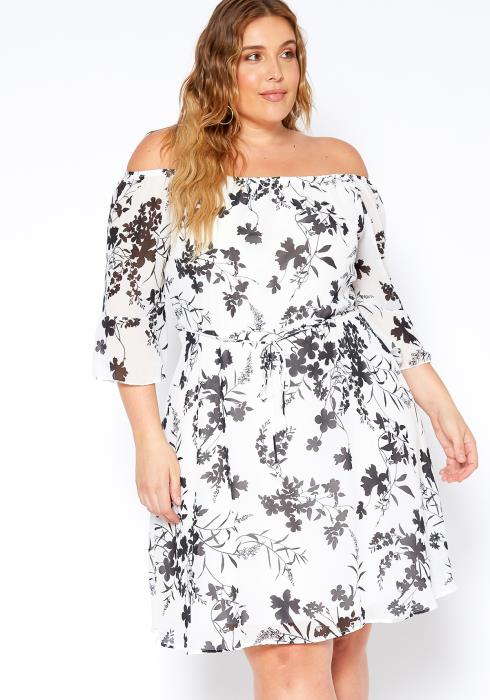 Asoph Plus Size Black White Floral Chiffon Dress