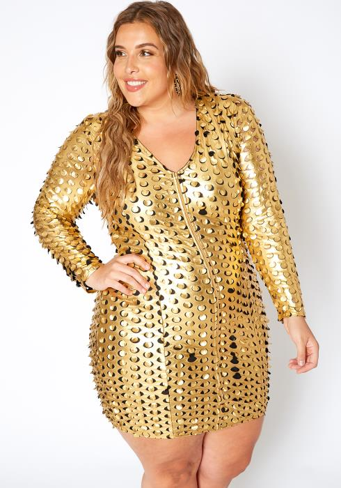 Asoph Plus Size Hole Punched Golden Party Dress