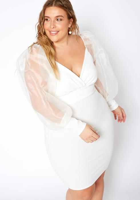 Asoph Plus Size Organza Princess White Dress