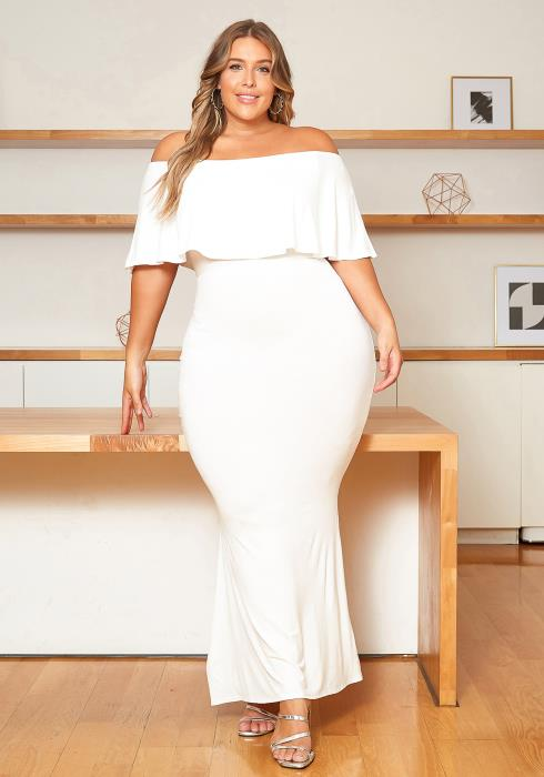 Asoph Plus Size Basic Off Shoulder Overlay Maxi Dress