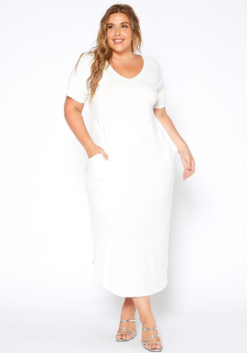 Asoph Plus Size Womens Basic V Neck Tee Shirt Maxi Dress