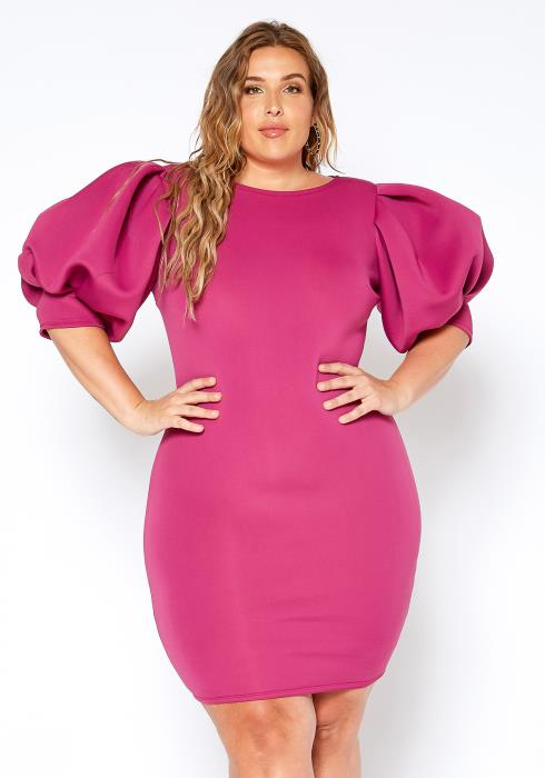 Asoph Plus Size High Class Puff Shoulder Fuschia Party Dress