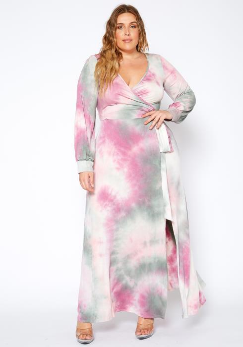 Asoph Plus Size Soft Tie Dye Maxi Dress