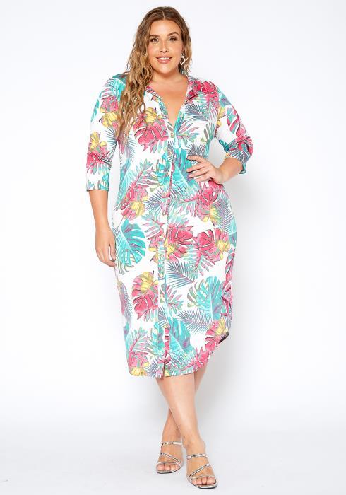 Asoph Plus Size Beach Getaway Button Front Collar Midi Dress