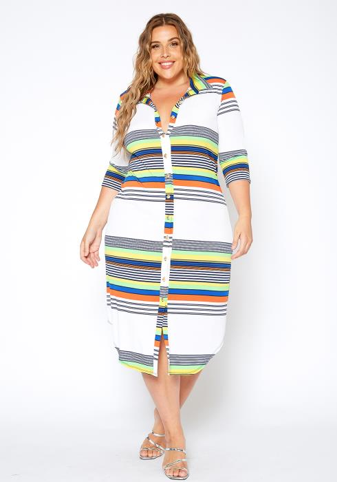 Asoph Plus Size Rainbow Striped Button Front Collar Midi Dress