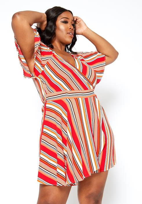 Asoph Plus Size Red Multi Striped Summer Romper