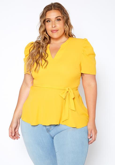 Asoph Plus Size Womens Yellow V Split Peplum Blouse