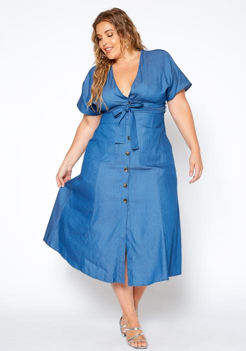 Asoph Plus Size Fresh Denim Fit & Flare Maxi Dress