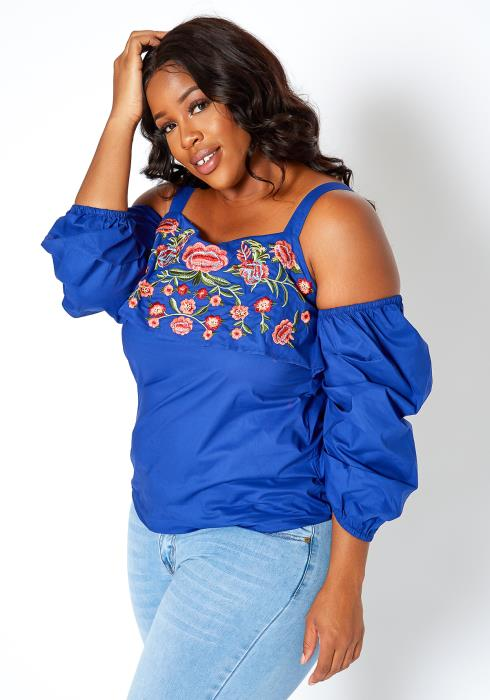 Asoph Plus Size Floral Embroidered Cold Shoulder Top