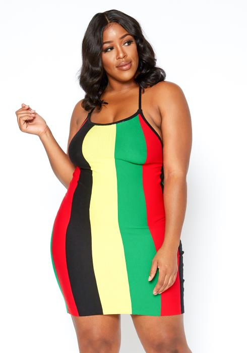 Asoph Plus Size Rasta Color Striped Ribbed Mini Dress