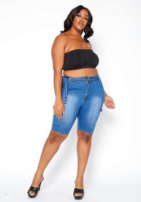 Asoph Plus Size Medium Denim Cargo Capri Shorts